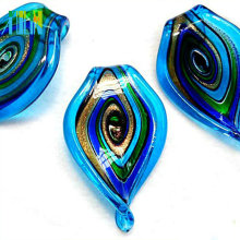 en gros bon marché murano lampwork verre perles feuille pendentif