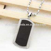 wholesale new fashionable custom made high quality stainless steel carbon fiber pendant for men
