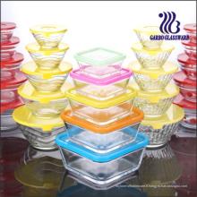 Ensemble de bol en verre carré 5PCS avec couvercle de couleur (GB1409)