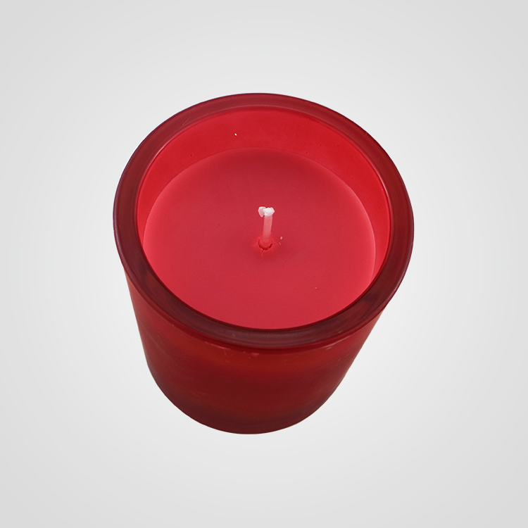 Red glass jar candle