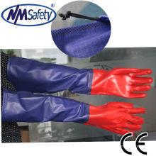 NMSAFETY manga longa luvas de trabalho de segurança pvc