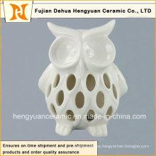 Encantador ahuecar el sostenedor de la vela del buho de cerámica, buho blanco acristalado