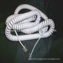 WHITE SPIRAL COIL COILED TELEPHONE CORD CABLE 3m