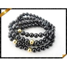Оптовые золотые бусины черного агата каменные ювелирные браслеты (CB065)