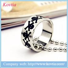 Punk O anel design anéis de dedo do crânio preto anel de metal sliver jóias