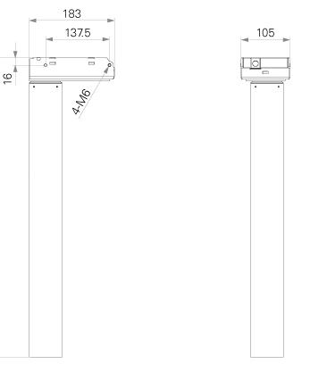 two part telescopic lifting column dimention