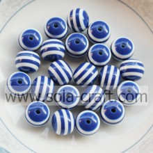 10MM 500Pcs Blue Stripe Shamballa Polystyrene Nigeria Resin Jewelry Alibaba Loose Swarovski Wholesale Lantern Bead