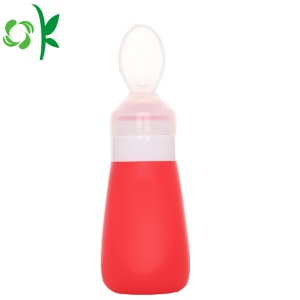 BPA Silicone Baby Squeeze Foder Sked Med Flaska