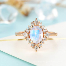 Rose Gold Plating 925 Sterling Silver Natural Blue Moonstone Ring Jewelry