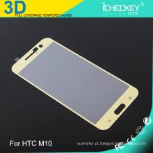 Protetor de tela de vidro temperado telefone celular uso 0.33mm 3D cobertura completa para HTC M10