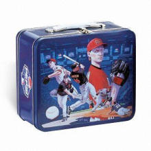 Tin Lunch Box with Embossed Logo, Available in Various Colors and Sizes