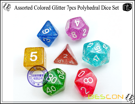 Assorted Colored Glitter 7pcs Polyhedral Dice Set-4