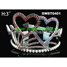 Corona de la tiara del rhinestone de la tarjeta del día de San Valentín -GWST0401