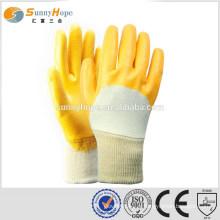 Poignet en tricot jaune gants de protection plats