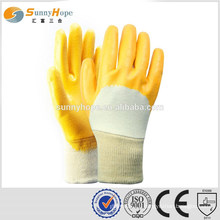 Knit wrist yellow flat industrial gloves