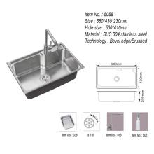 304 Stainless Steel Handmade Single Bowl Kitchen Sink Washing/Wash