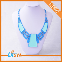 Blue Colored Plastic Chain Link Necklace Fashion Acrylic Pendant Necklace