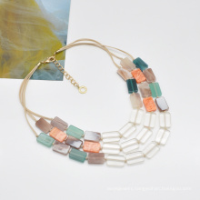 2021 rainbow acrylic and resin neck jewelry for women short colorful three layer necklace