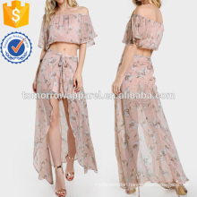 Off Shoulder Floral Print Crop & Matching Shorts Set Manufacture Wholesale Fashion Women Apparel (TA4108SS)