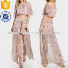 Fora do ombro Floral Print Crop & Matching Shorts Set Fabricação Atacado Moda Feminina Vestuário (TA4108SS)