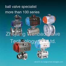 Válvula de bola neumática de acero inoxidable Válvula de bola neumática de actuador CF8m 1000 Wog
