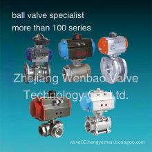 Stainless Steel Pneumatic Ball Valve Pneumatic Actuator Ball Valve CF8m 1000 Wog
