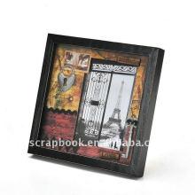 Titular da moldura e foto madeira preto