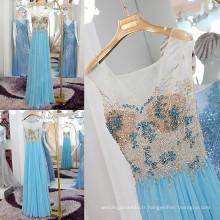 2016 Summer Hot Sale en cristal étincelant perlé en strass robes de soirée en mousseline de soie sexy à travers la robe de soirée V-Back profonde ML166