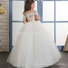 Hermosa chica sin vestido Vestido de fiesta con apliques de encaje para niña musulmana de 4 años
