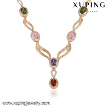 43656 collier de mode 2017 luxe élégant collier de bijoux plaqué or zircon pierre multicolore