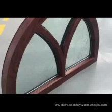 Fantástico marco de ventana de madera de roble arqueado con vidrio tallado para la casa