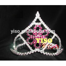 colored fashion crystal flower tiara