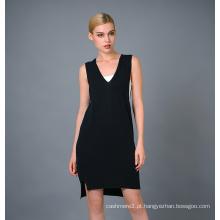 Camisola do vestido de malha de moda da senhora (17brpv053)
