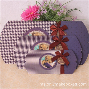 Perhiasan Percetakan CMYK Elegant Wedding Candy Paper Box Bantal
