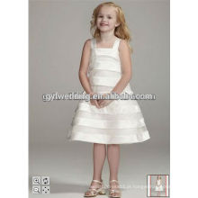 Cristal de moda Flores de mão Vestido de bola de organza branco Vestidos de menina de flor Comprimento do tornozelo Menina pequena da menina P [Vestido Ageant