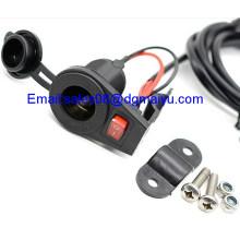 12 V Motorcycle Cigarette Lighter Socket with Switch for Handlebars