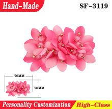 New arrival Wholesale woman shoe accessory jewelry decoration silk cloth flower