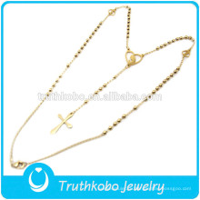 ТКБ-JN0028 оптовые ювелирные изделия золотые четки крест нержавеющей стали 316L ожерелье для женщин