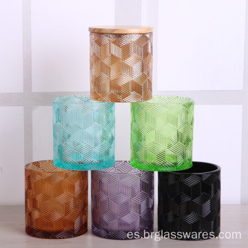Venta al por mayor Colored Glass Candle Jar with Lid