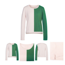 Round Neck Women Color Patterns Knitted Cashmere Sweater