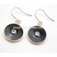 Boucle d'oreille en or rose rose émaillée de luxe avec cristal