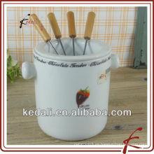 Velas de fondue de cerámica blanca