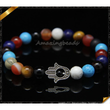 Colorful Gemstone Beads Hamsa Charms Fashion Bracelets (CB0109)