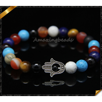 Coloridos piedras preciosas Hamsa encantos brazaletes de moda (CB0109)