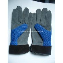 Guante de jardín guante de cuero dividido guante azul