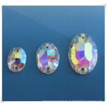 2014 Moda Oval ab pedra de vidro para pano de costura