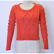 Custom Women Round Neck Cable Knit Sweater