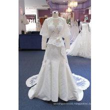 Long Sleeve Custom Made Satin Lace Wedding Dress