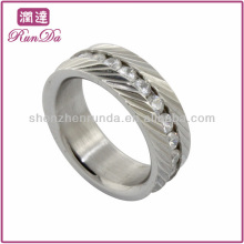 Caliente anillos de acero inoxidable anillo de diamante de diamante anillo de raya