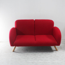 Solid Wood with Wool Fabric Soft Seat Red Sofa Set 2seats
